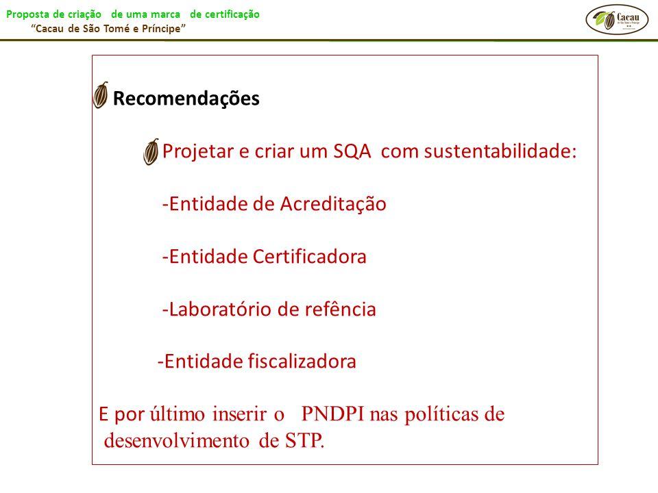 """Proposta de criação de uma marca de certificação """"Cacau de São Tomé e Príncipe"""" Recomendações Projetar e criar um SQA com sustentabilidade: -Entidade"""