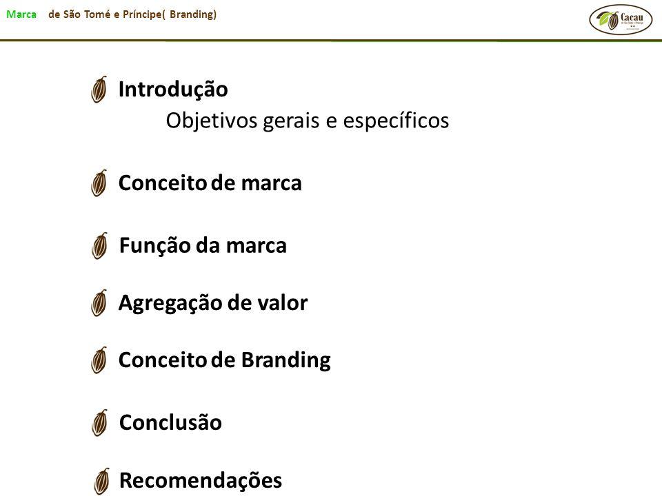 Marca de São Tomé e Príncipe( Branding) Conclusão Recomendações Conceito de Branding Agregação de valor Função da marca Conceito de marca Introdução O