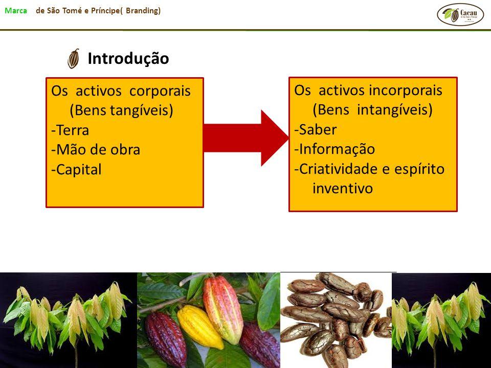 Marca de São Tomé e Príncipe( Branding) Introdução Os activos corporais (Bens tangíveis) -Terra -Mão de obra -Capital Os activos incorporais (Bens int