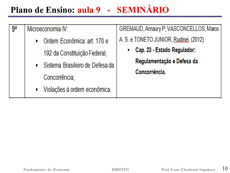 Plano de Ensino: aula 9 - SEMINÁRIO 10 Fundamentos de EconomiaDIREITO Prof. Econ. Claudemir Sugahara