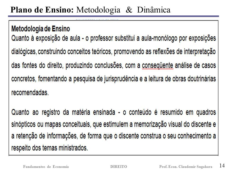 Plano de Ensino: Metodologia & Dinâmica 14 Fundamentos de EconomiaDIREITO Prof. Econ. Claudemir Sugahara