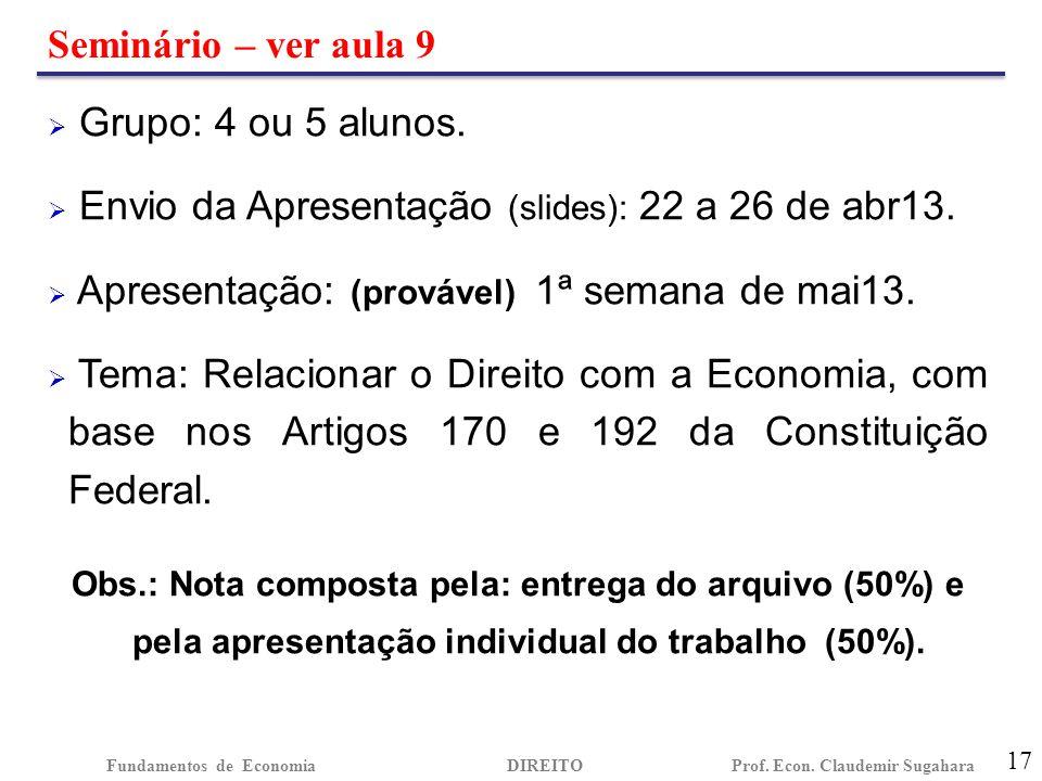 Seminário – ver aula 9 17 Fundamentos de EconomiaDIREITO Prof. Econ. Claudemir Sugahara  Grupo: 4 ou 5 alunos.  Envio da Apresentação (slides): 22 a