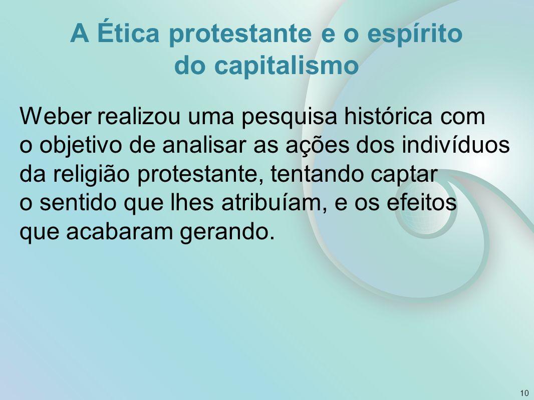 A Ética protestante e o espírito do capitalismo Weber realizou uma pesquisa histórica com o objetivo de analisar as ações dos indivíduos da religião p