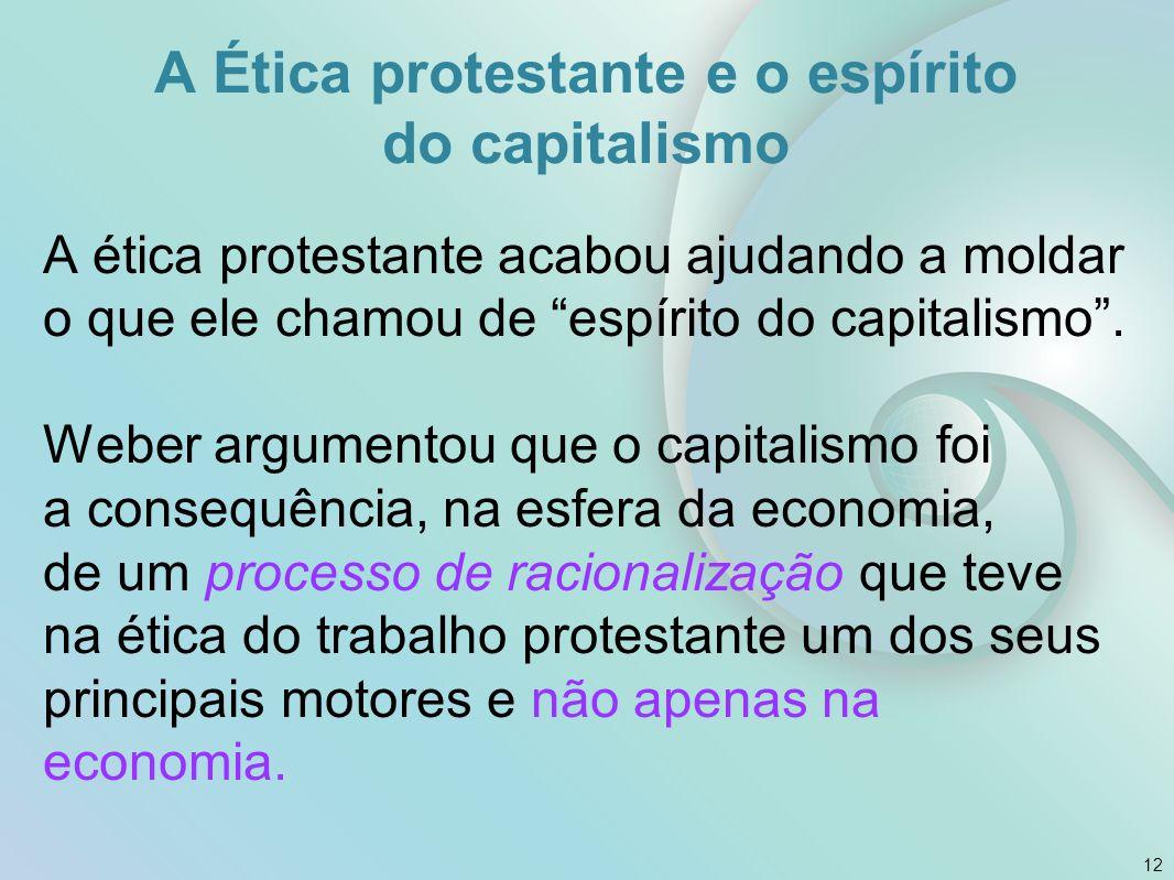 """A ética protestante acabou ajudando a moldar o que ele chamou de """"espírito do capitalismo"""". Weber argumentou que o capitalismo foi a consequência, na"""