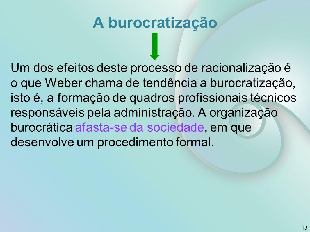 A burocratização Um dos efeitos deste processo de racionalização é o que Weber chama de tendência a burocratização, isto é, a formação de quadros prof