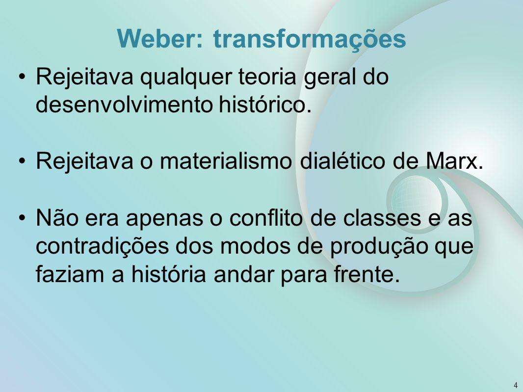 Weber: transformações Rejeitava qualquer teoria geral do desenvolvimento histórico. Rejeitava o materialismo dialético de Marx. Não era apenas o confl