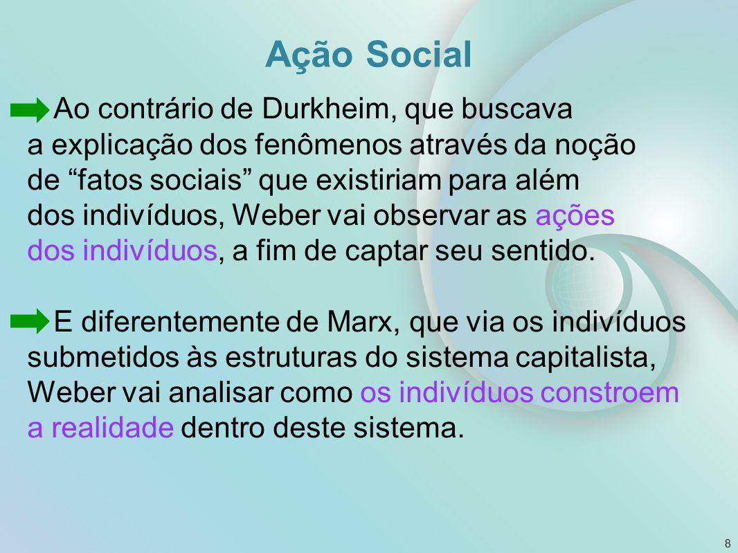"""Ação Social Ao contrário de Durkheim, que buscava a explicação dos fenômenos através da noção de """"fatos sociais"""" que existiriam para além dos indivídu"""
