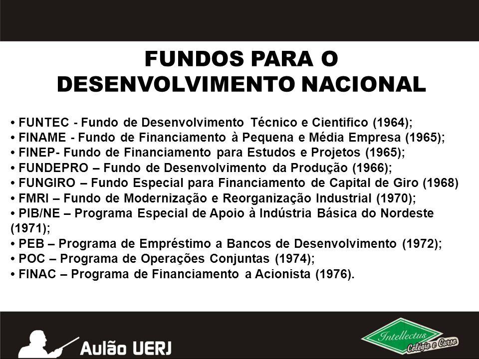 FUNTEC - Fundo de Desenvolvimento Técnico e Cientifico (1964); FINAME - Fundo de Financiamento à Pequena e Média Empresa (1965); FINEP- Fundo de Finan