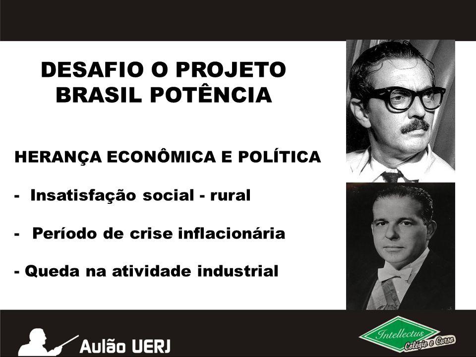DESAFIO O PROJETO BRASIL POTÊNCIA HERANÇA ECONÔMICA E POLÍTICA - Insatisfação social - rural -Período de crise inflacionária - Queda na atividade indu