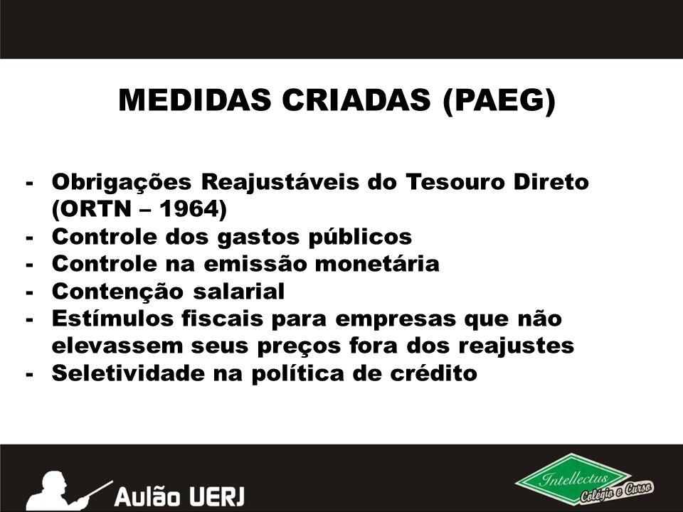 MEDIDAS CRIADAS (PAEG) -Obrigações Reajustáveis do Tesouro Direto (ORTN – 1964) -Controle dos gastos públicos -Controle na emissão monetária -Contençã