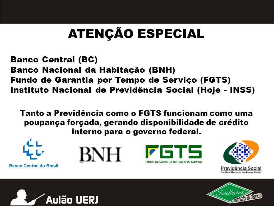 Banco Central (BC) Banco Nacional da Habitação (BNH) Fundo de Garantia por Tempo de Serviço (FGTS) Instituto Nacional de Previdência Social (Hoje - IN