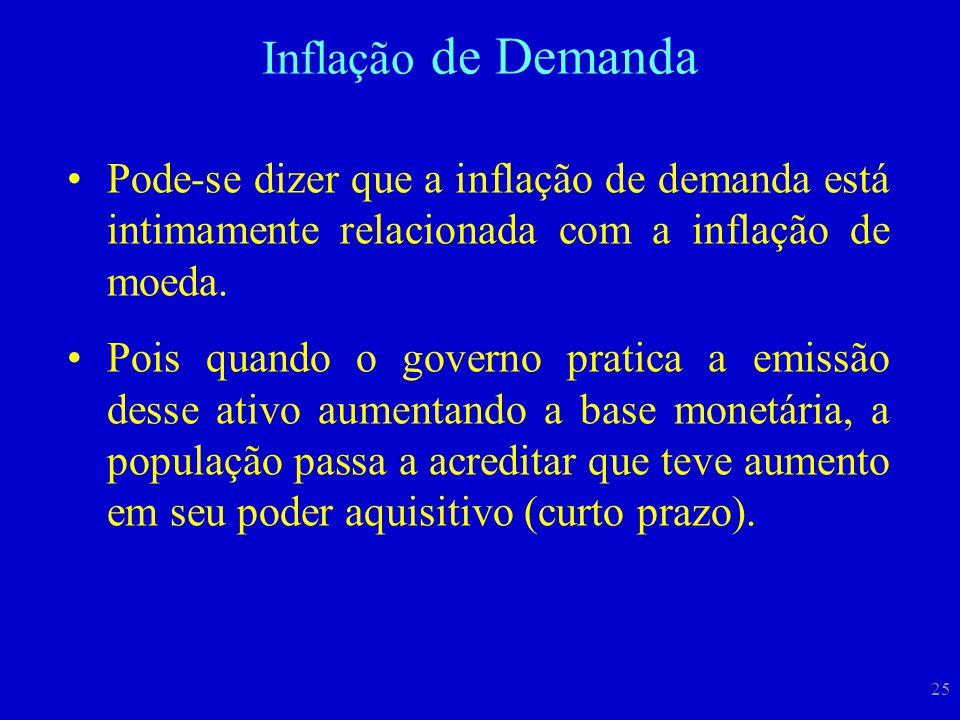 25 Pode-se dizer que a inflação de demanda está intimamente relacionada com a inflação de moeda. Pois quando o governo pratica a emissão desse ativo a