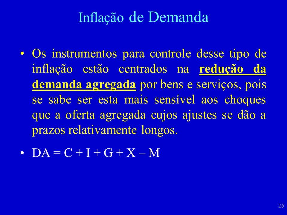 26 Os instrumentos para controle desse tipo de inflação estão centrados na redução da demanda agregada por bens e serviços, pois se sabe ser esta mais