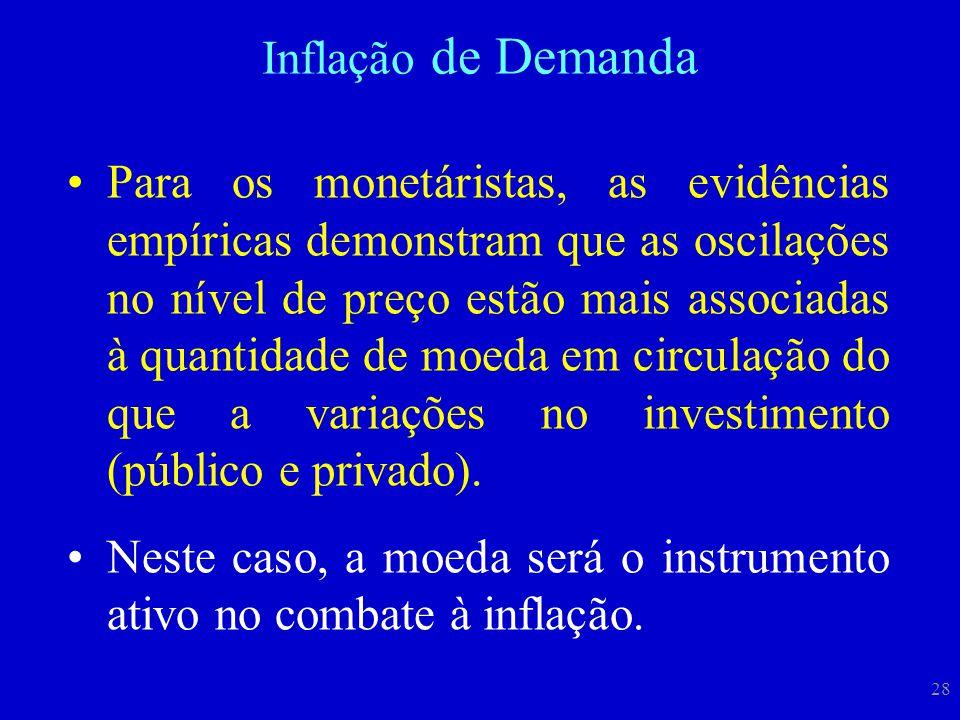 28 Para os monetáristas, as evidências empíricas demonstram que as oscilações no nível de preço estão mais associadas à quantidade de moeda em circula
