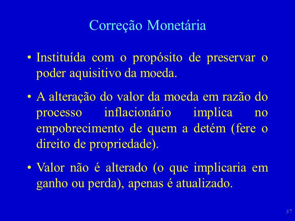 37 Correção Monetária Instituída com o propósito de preservar o poder aquisitivo da moeda. A alteração do valor da moeda em razão do processo inflacio