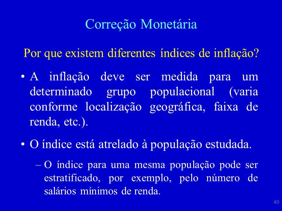 40 Correção Monetária Por que existem diferentes índices de inflação? A inflação deve ser medida para um determinado grupo populacional (varia conform