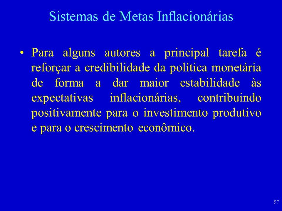 57 Para alguns autores a principal tarefa é reforçar a credibilidade da política monetária de forma a dar maior estabilidade às expectativas inflacion