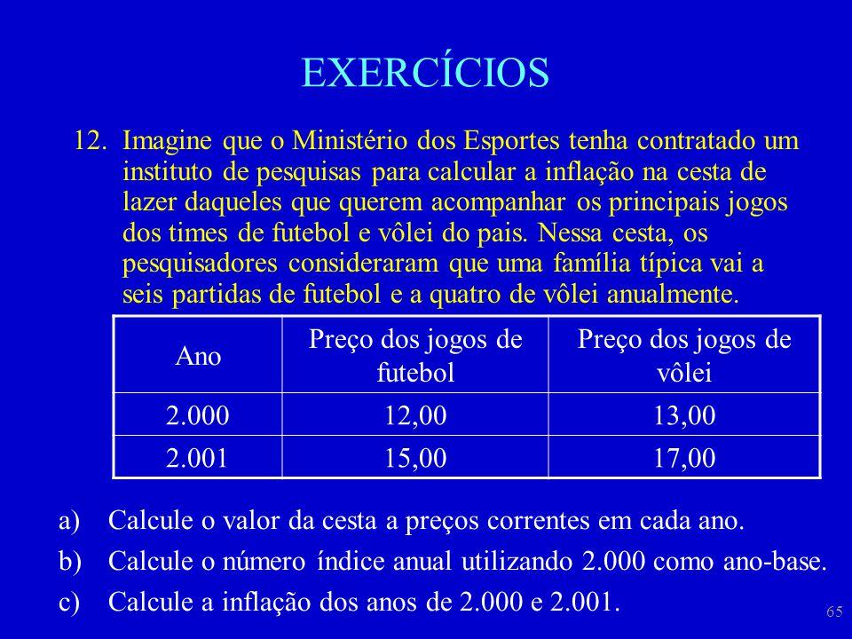 65 EXERCÍCIOS 12.Imagine que o Ministério dos Esportes tenha contratado um instituto de pesquisas para calcular a inflação na cesta de lazer daqueles