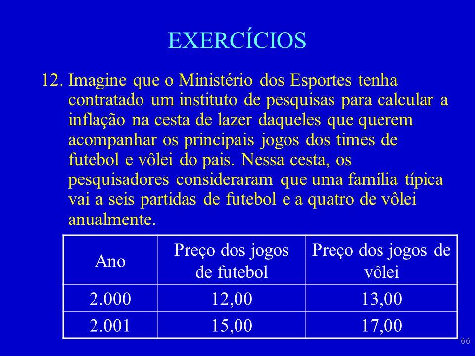 66 EXERCÍCIOS 12.Imagine que o Ministério dos Esportes tenha contratado um instituto de pesquisas para calcular a inflação na cesta de lazer daqueles