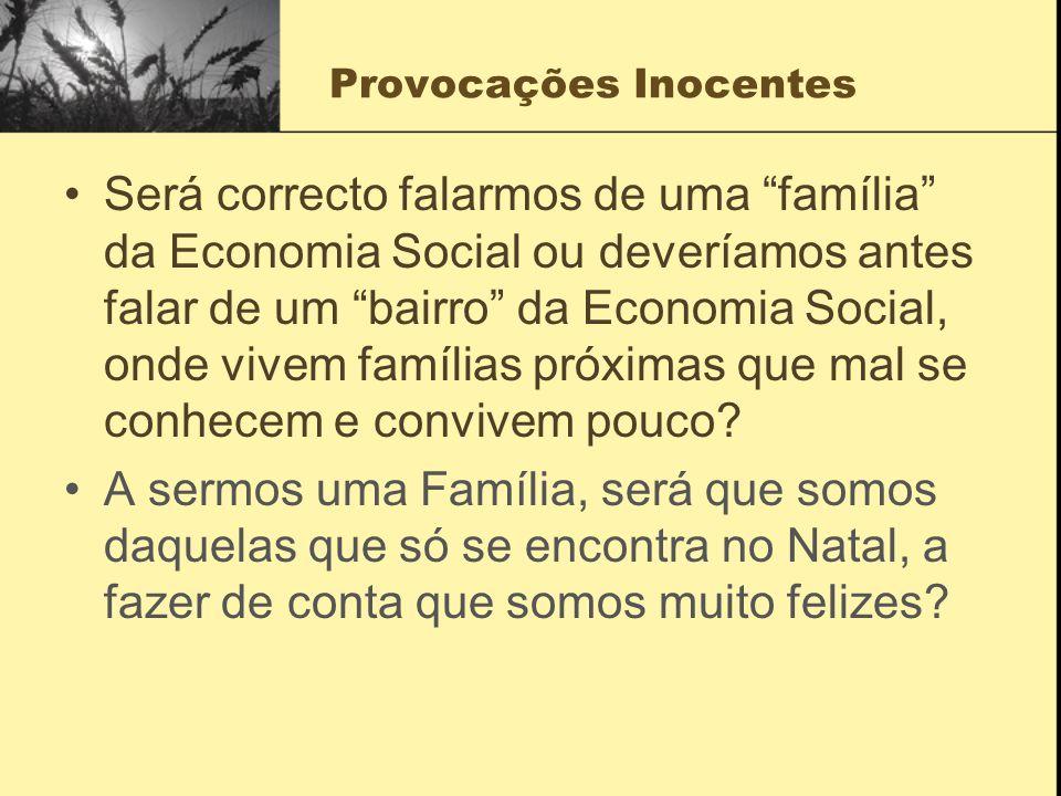 Provocações Inocentes Será correcto falarmos de uma família da Economia Social ou deveríamos antes falar de um bairro da Economia Social, onde vivem famílias próximas que mal se conhecem e convivem pouco.