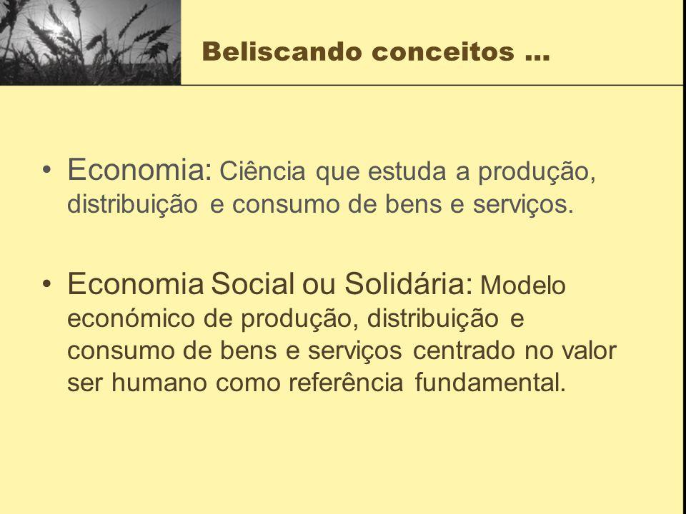 Beliscando conceitos … Economia: Ciência que estuda a produção, distribuição e consumo de bens e serviços.