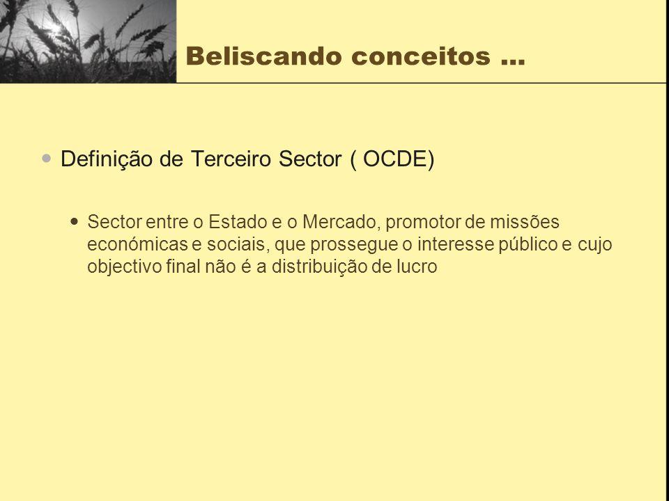 Beliscando conceitos … Definição de Terceiro Sector ( OCDE) Sector entre o Estado e o Mercado, promotor de missões económicas e sociais, que prossegue o interesse público e cujo objectivo final não é a distribuição de lucro