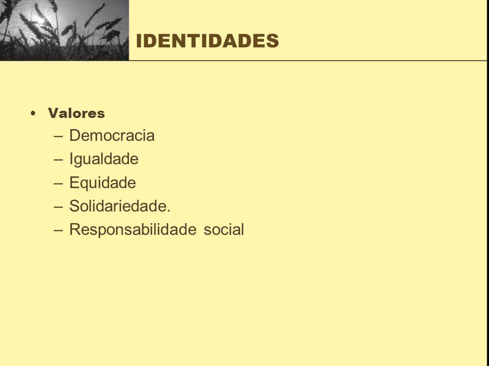 IDENTIDADES Valores –Democracia –Igualdade –Equidade –Solidariedade. –Responsabilidade social