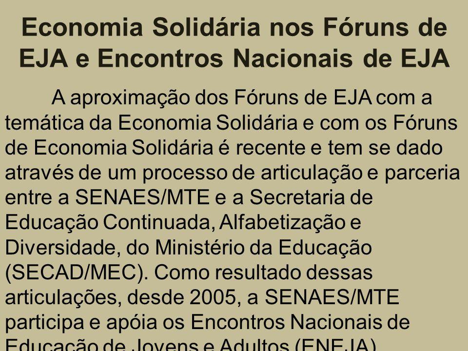 Economia Solidária nos Fóruns de EJA e Encontros Nacionais de EJA A aproximação dos Fóruns de EJA com a temática da Economia Solidária e com os Fóruns