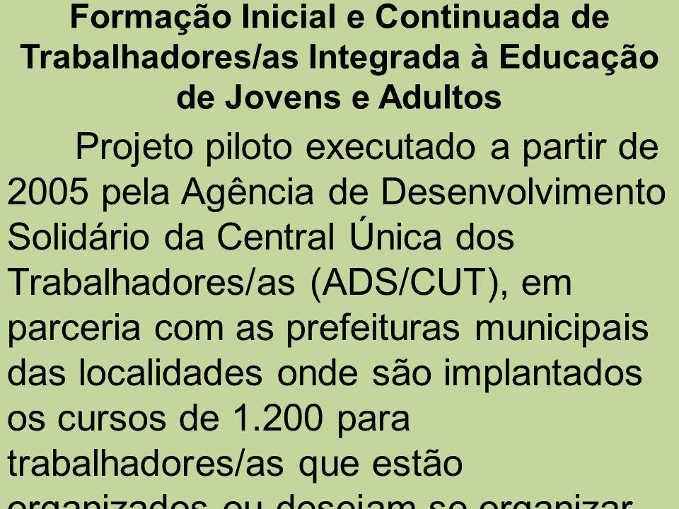 Formação Inicial e Continuada de Trabalhadores/as Integrada à Educação de Jovens e Adultos Projeto piloto executado a partir de 2005 pela Agência de D