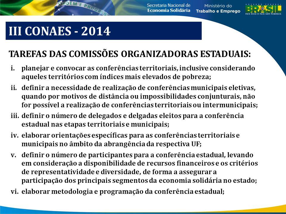 Secretaria Nacional de Economia Solidária III CONAES - 2014 i.planejar e convocar as conferências territoriais, inclusive considerando aqueles territó