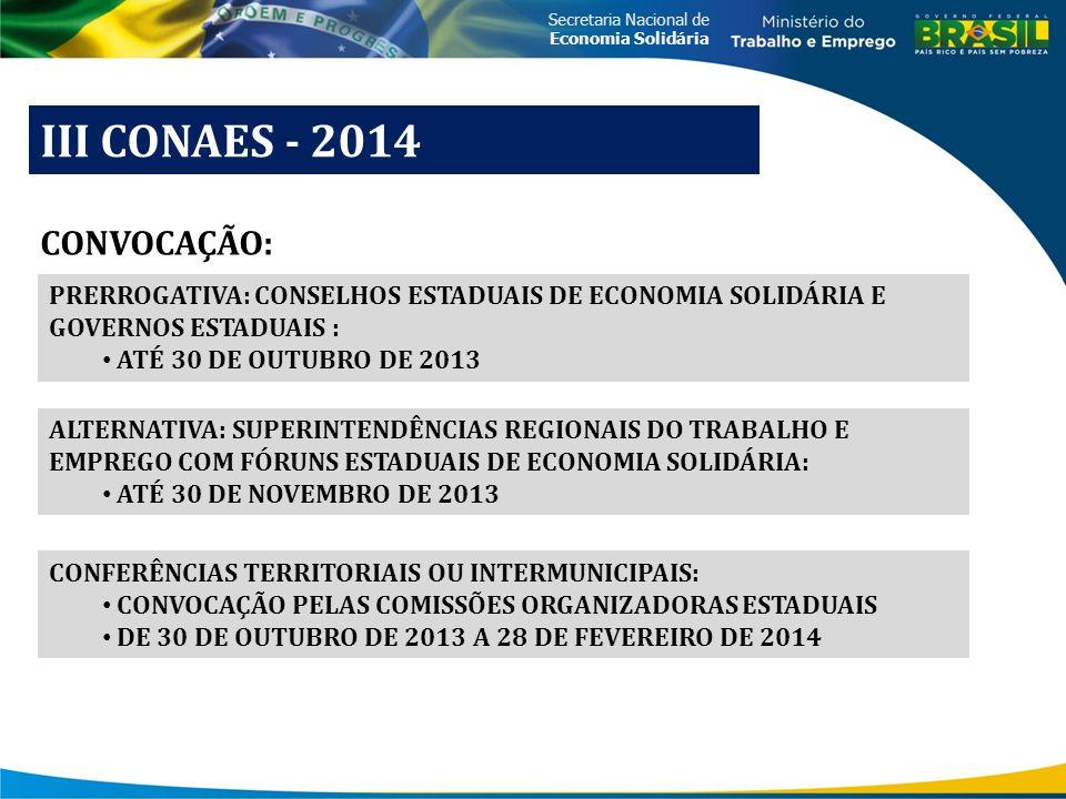 Secretaria Nacional de Economia Solidária III CONAES - 2014 CONVOCAÇÃO: PRERROGATIVA: CONSELHOS ESTADUAIS DE ECONOMIA SOLIDÁRIA E GOVERNOS ESTADUAIS :