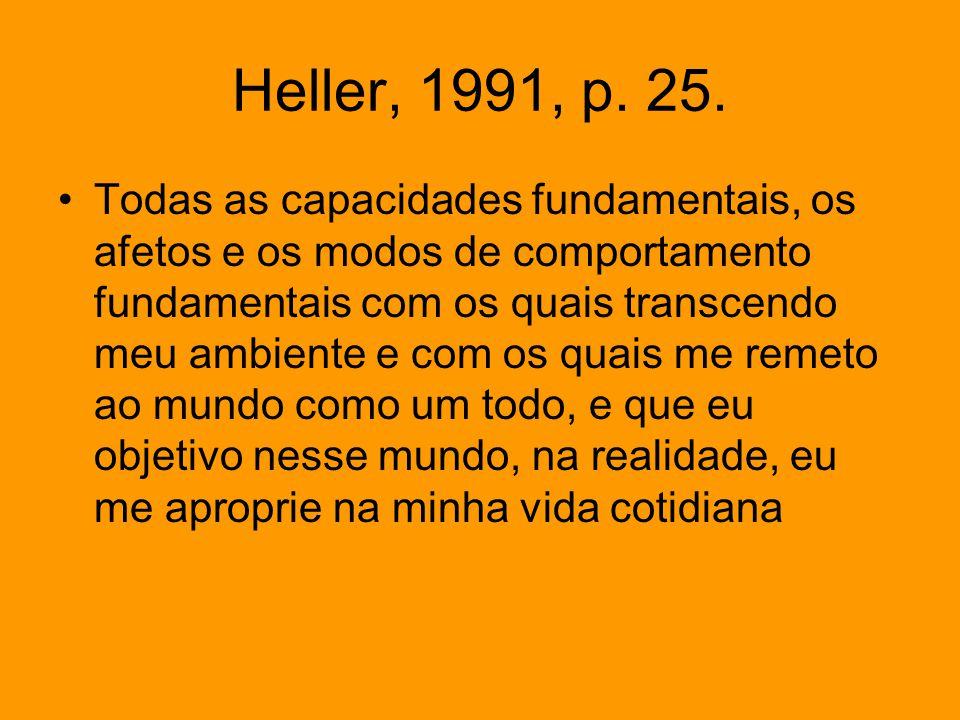 Heller, 1991, p. 25. Todas as capacidades fundamentais, os afetos e os modos de comportamento fundamentais com os quais transcendo meu ambiente e com