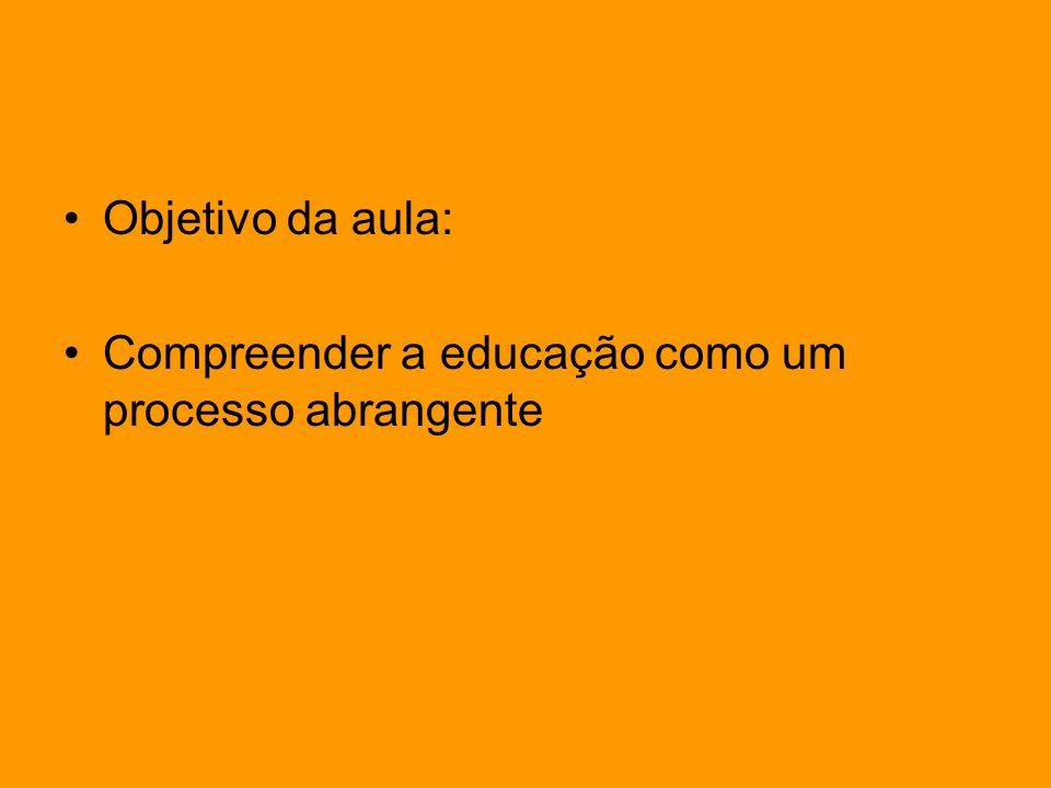 Objetivo da aula: Compreender a educação como um processo abrangente