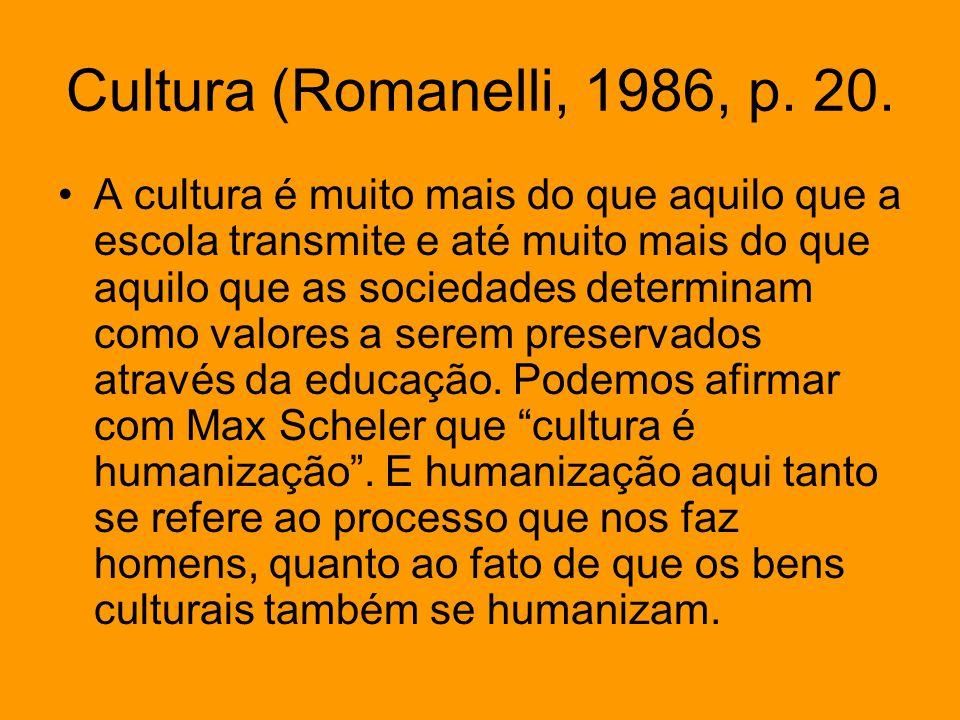 Cultura (Romanelli, 1986, p. 20. A cultura é muito mais do que aquilo que a escola transmite e até muito mais do que aquilo que as sociedades determin