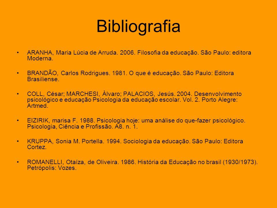Bibliografia ARANHA, Maria Lúcia de Arruda. 2006. Filosofia da educação. São Paulo: editora Moderna. BRANDÃO, Carlos Rodrigues. 1981. O que é educação