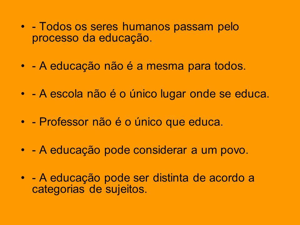 - Todos os seres humanos passam pelo processo da educação. - A educação não é a mesma para todos. - A escola não é o único lugar onde se educa. - Prof
