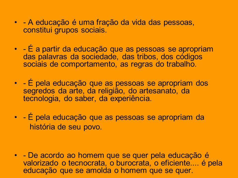 - A educação é uma fração da vida das pessoas, constitui grupos sociais. - É a partir da educação que as pessoas se apropriam das palavras da sociedad