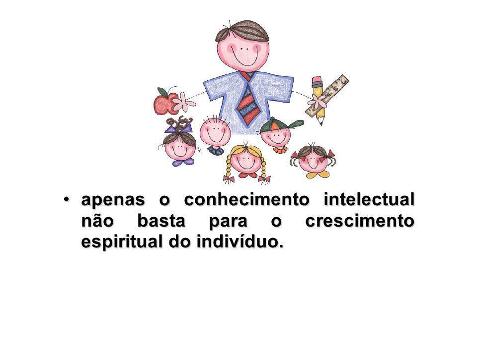 apenas o conhecimento intelectual não basta para o crescimento espiritual do indivíduo.apenas o conhecimento intelectual não basta para o crescimento