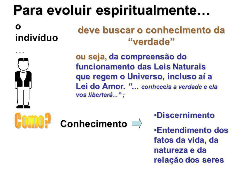 """Para evoluir espiritualmente… o indivíduo … deve buscar o conhecimento da """"verdade"""" ou seja, da compreensão do funcionamento das Leis Naturais que reg"""