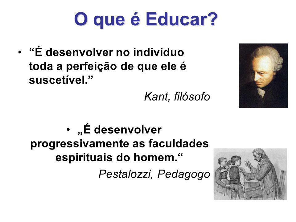 """O que é Educar? """"É desenvolver no indivíduo toda a perfeição de que ele é suscetível."""" Kant, filósofo """"É desenvolver progressivamente as faculdades es"""
