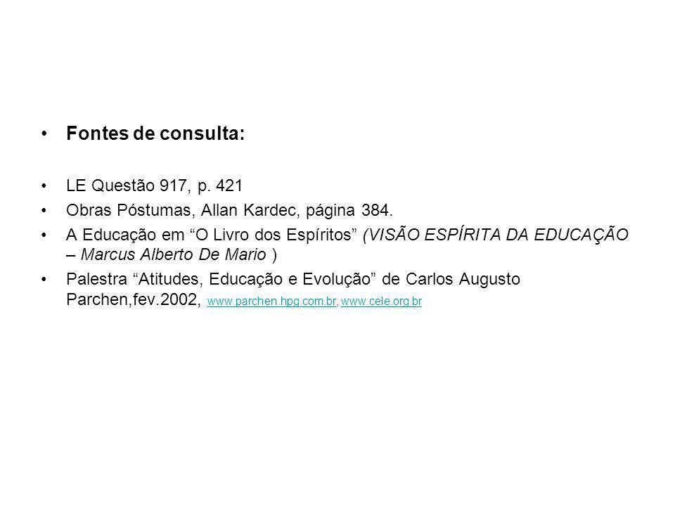 """Fontes de consulta: LE Questão 917, p. 421 Obras Póstumas, Allan Kardec, página 384. A Educação em """"O Livro dos Espíritos"""" (VISÃO ESPÍRITA DA EDUCAÇÃO"""