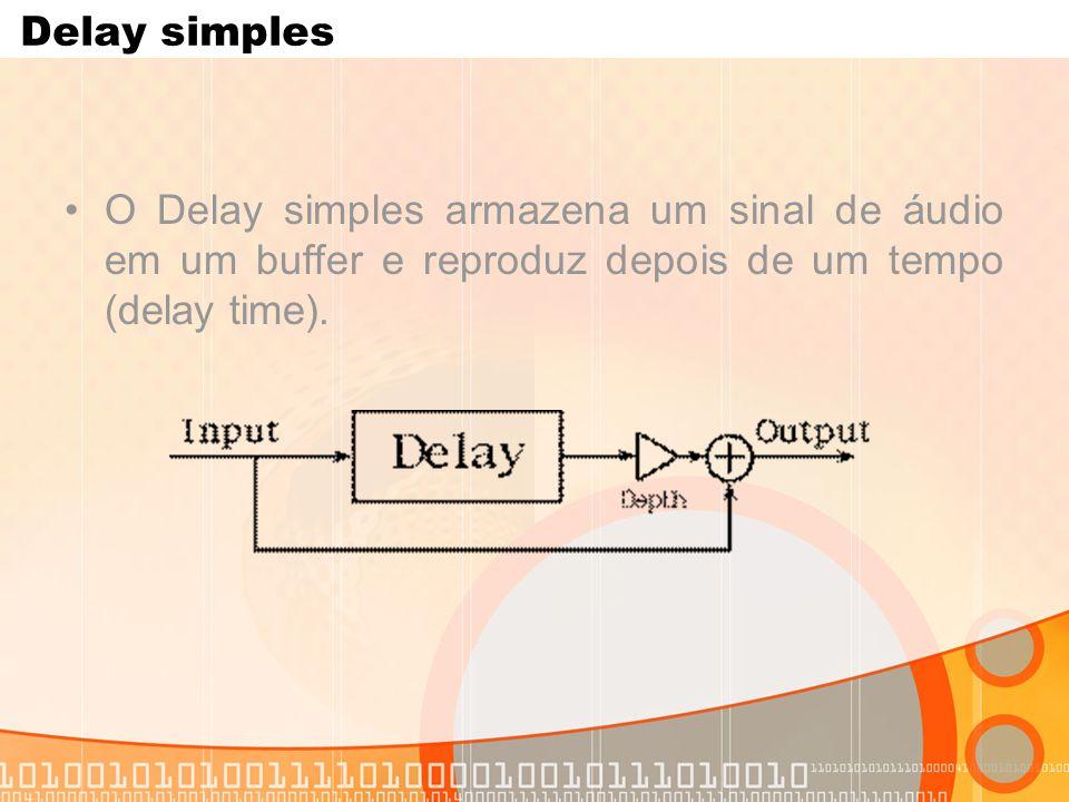 Delay simples O Delay simples armazena um sinal de áudio em um buffer e reproduz depois de um tempo (delay time).