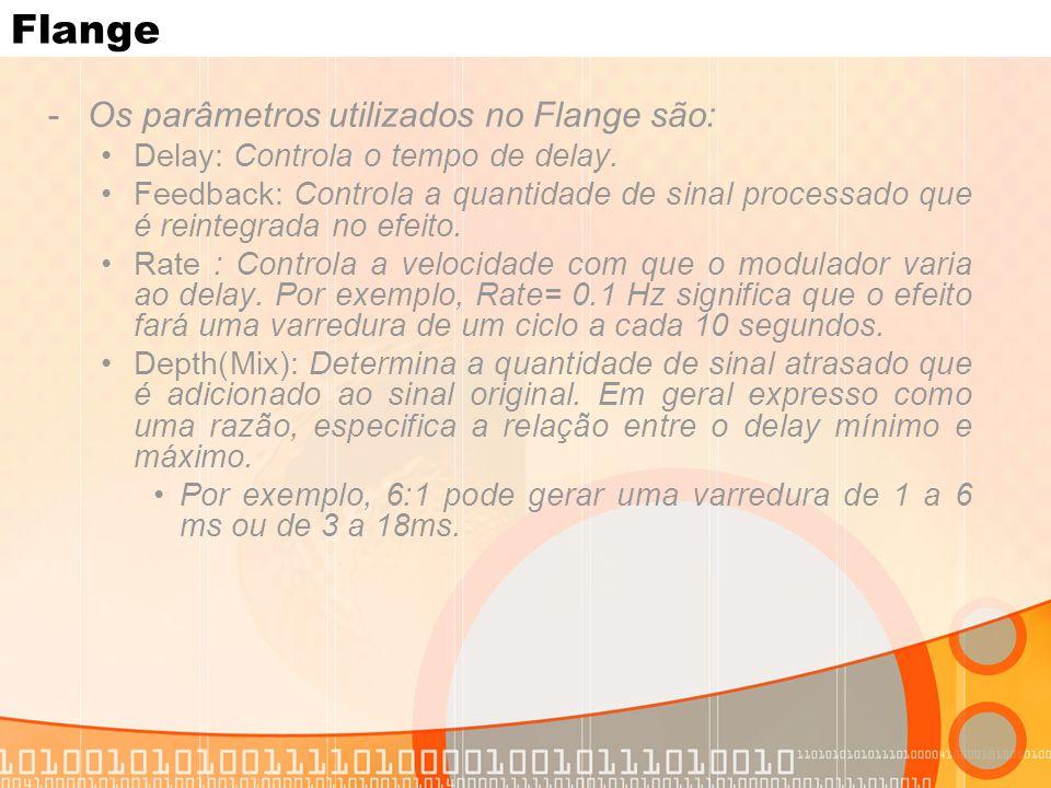 Flange -Os parâmetros utilizados no Flange são: Delay: Controla o tempo de delay. Feedback: Controla a quantidade de sinal processado que é reintegrad