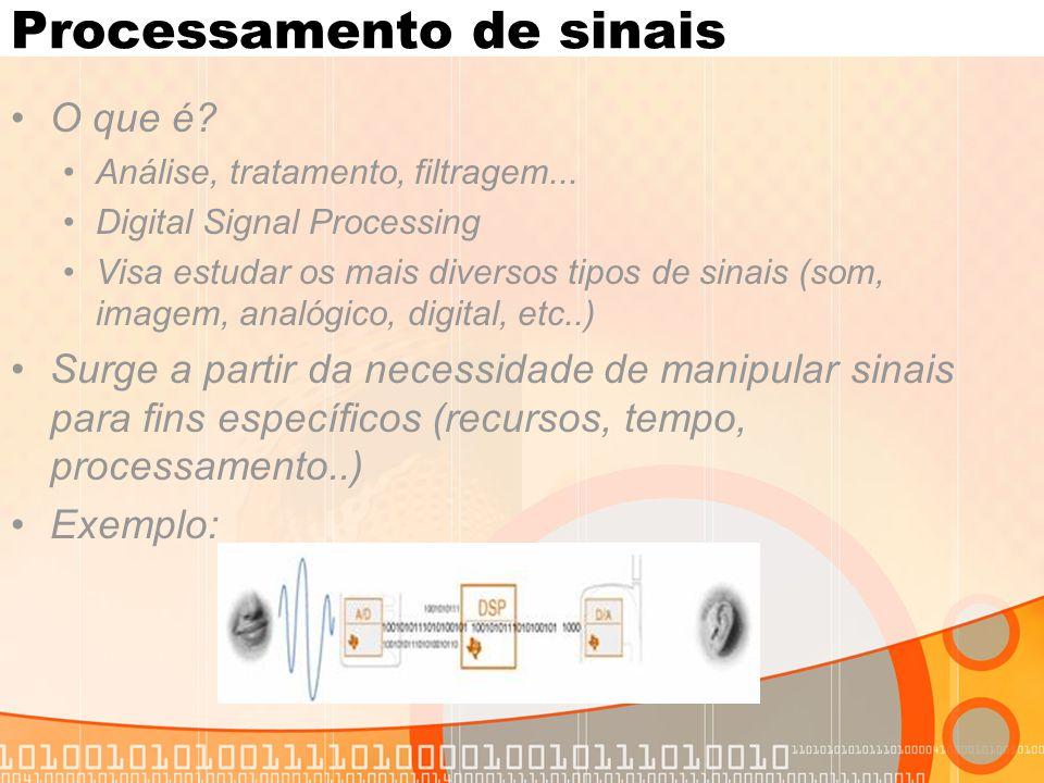 Processamento de sinais O que é? Análise, tratamento, filtragem... Digital Signal Processing Visa estudar os mais diversos tipos de sinais (som, image