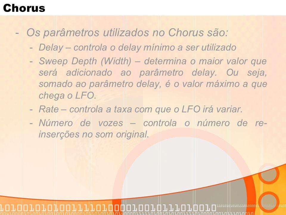 Chorus -Os parâmetros utilizados no Chorus são: -Delay – controla o delay mínimo a ser utilizado -Sweep Depth (Width) – determina o maior valor que se