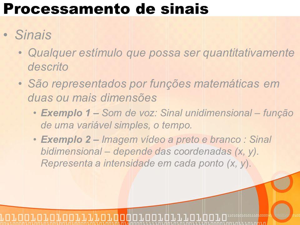 Processamento de sinais Sinais Qualquer estímulo que possa ser quantitativamente descrito São representados por funções matemáticas em duas ou mais di