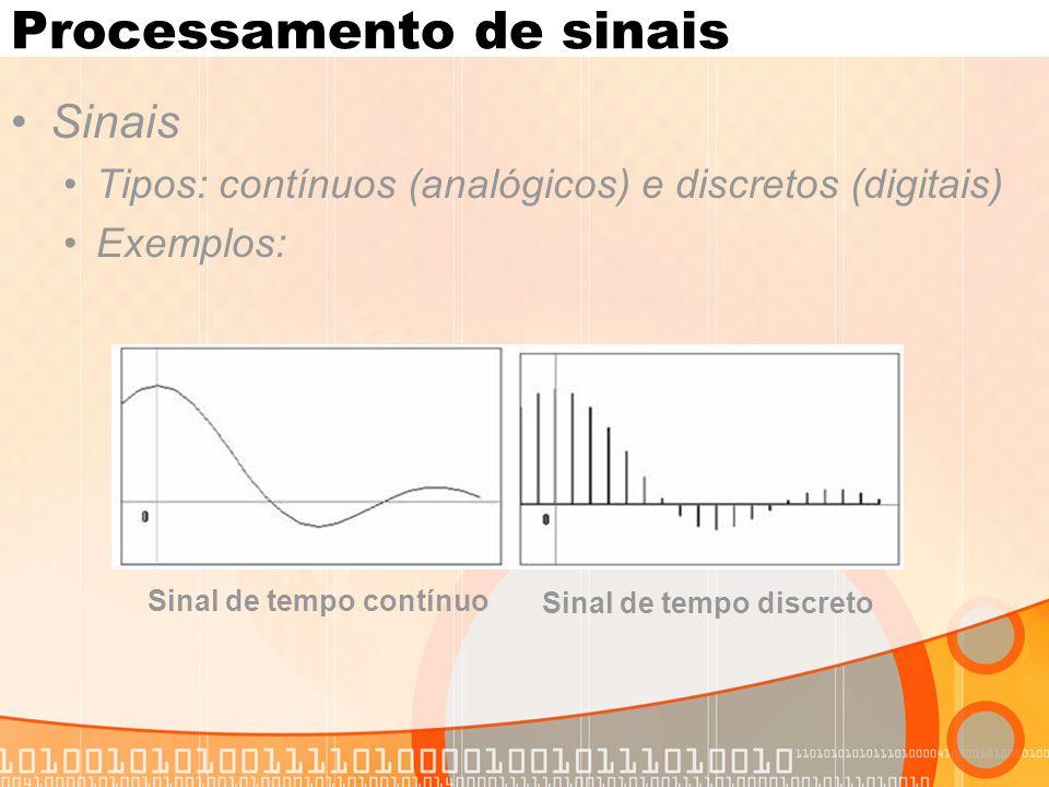 Processamento de sinais Sinais Tipos: contínuos (analógicos) e discretos (digitais) Exemplos: Sinal de tempo contínuo Sinal de tempo discreto