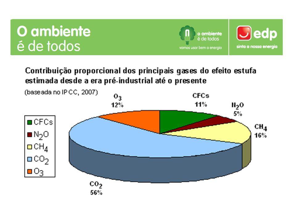 Causas do Efeito de Estufa Desflorestação Incêndios Industrialização Transportes Actividades domésticas Produção de energia Emissão gases poluentes (maioritariamente CFC's)