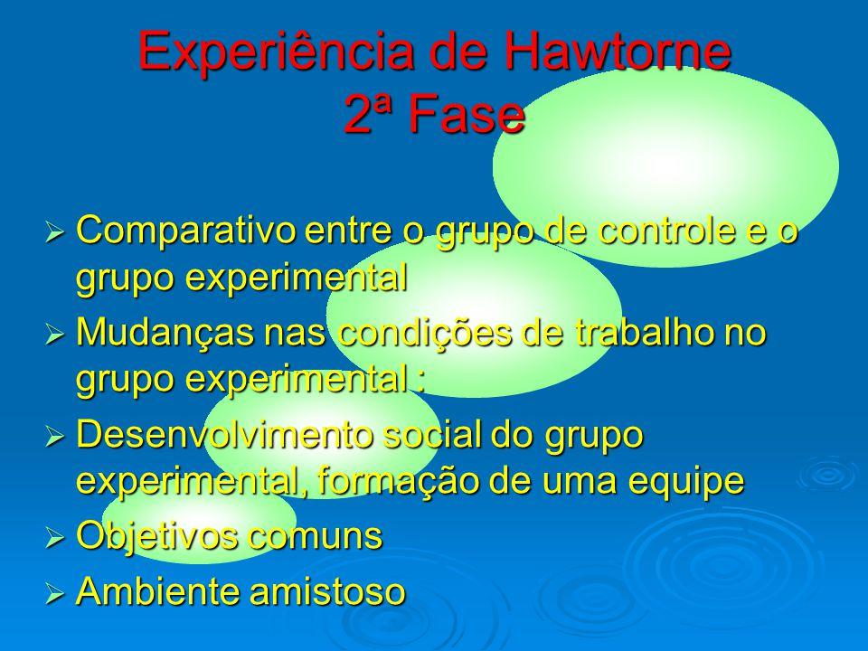 Experiência de Hawthorne 1ª Fase  Hawthorne Eletric Company  Iluminação e eficiência dos empregados  Fadiga  Acidentes no trabalho  Rotatividade