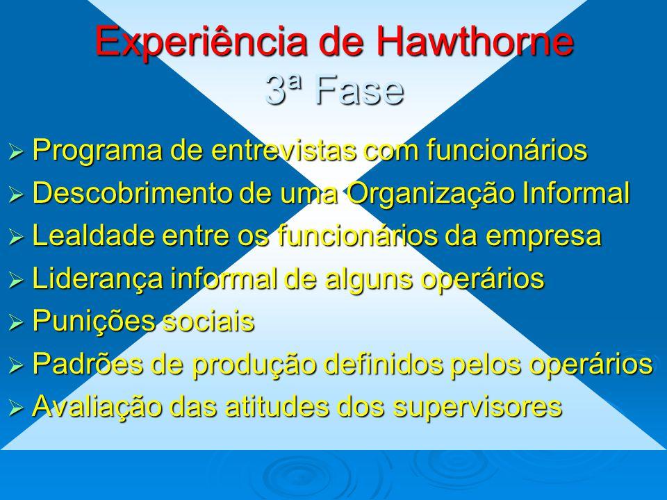 Experiência de Hawtorne 2ª Fase  Comparativo entre o grupo de controle e o grupo experimental  Mudanças nas condições de trabalho no grupo experimen
